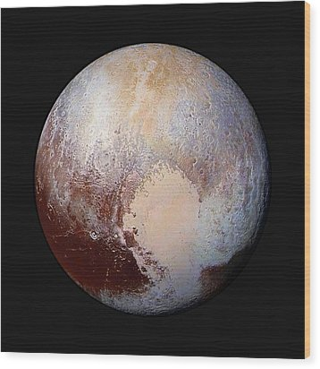 Pluto Dazzles In False Color - Square Crop Wood Print by Nasa