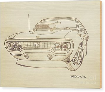 Plymouth Gtx American Muscle Car - Antique  Wood Print