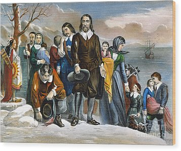 Plymouth Rock, 1620 Wood Print by Granger
