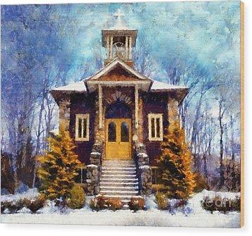 Poconos Country Church Wood Print by Janine Riley