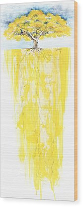 Poinciana Tree Yellow Wood Print by Anthony Burks Sr