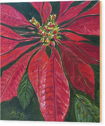 Poinsettia Closeup Wood Print by Maria Soto Robbins