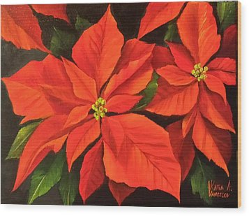 Poinsettia  Wood Print by Katia Aho