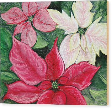 Poinsettia Pastel Wood Print by Nancy Mueller