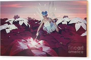 Wood Print featuring the digital art Poinsettia Snow Fairy by Methune Hively