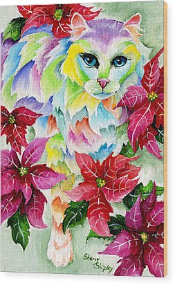 Poinsettia Sweetheart Wood Print by Sherry Shipley