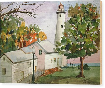 Point Aux Barques Lighthouse - Port Hope Mi Wood Print by Larry Hamilton