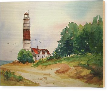 Point Betsie Lighthouse Michigan Wood Print by Larry Hamilton