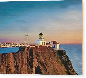 Wood Print featuring the painting Point Bonita Lighthouse by Douglas MooreZart