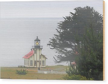 Point Cabrillo Light Station Ca - Lighthouse In Damp Costal Fog Wood Print by Christine Till