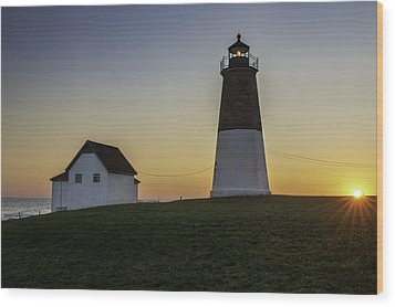 Point Judith Light At Sunset Wood Print by Thomas Schoeller