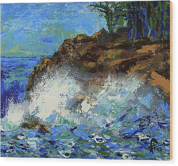 Wood Print featuring the painting Point Lobos Crashing Waves by Walter Fahmy