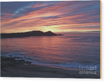 Point Lobos Red Sunset Wood Print