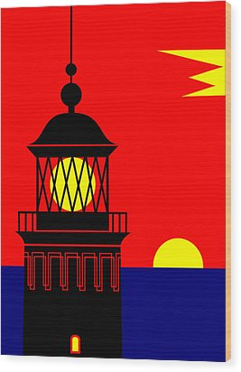 Point Queen Charlotte Light House Wood Print by Asbjorn Lonvig