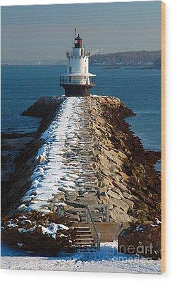 Point Spring Ledge Light - Lighthouse Seascape Landscape Rocky Coast Maine Wood Print by Jon Holiday