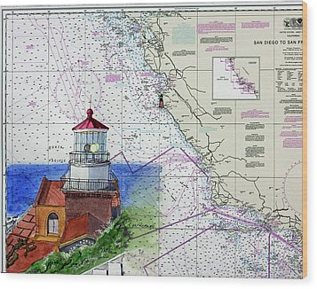 Point Sur Light Station Wood Print by Mike Robles