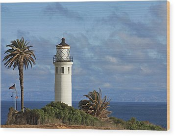 Point Vicente Lighthouse On The Cliffs Of Palos Verdes California Wood Print by Christine Till