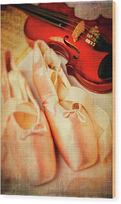 Pointe Shoes And Violin Wood Print by Garry Gay