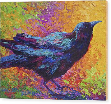 Poised - Crow Wood Print by Marion Rose
