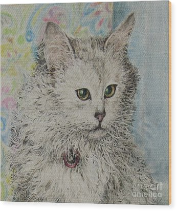 Poised Cat Wood Print
