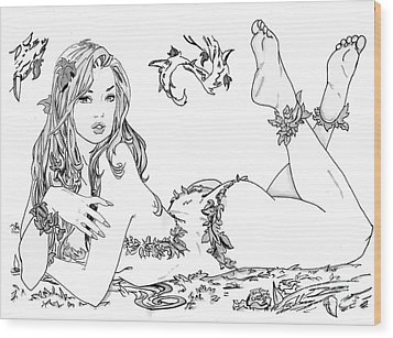 Poison Ivy - Grayscale Wood Print by Bill Richards