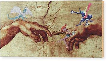 Wood Print featuring the digital art Pokeangelo Sistine Chapel by Greg Sharpe