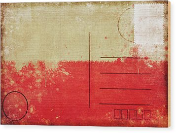Poland Flag Postcard Wood Print by Setsiri Silapasuwanchai