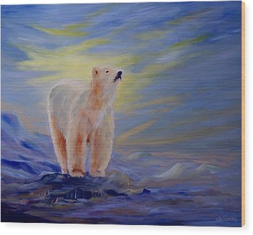 Polar Bear Wood Print by Joanne Smoley