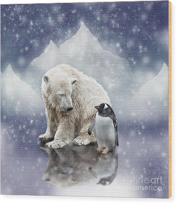 Polar Bear Meets Penguin Wood Print