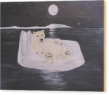 Polar Bear On Ice Wood Print