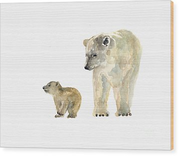 Polar Bears Watercolor Art Print Painting  Wood Print
