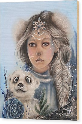 Wood Print featuring the drawing Polar Precious  by Sheena Pike