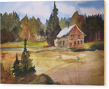 Polebridge Mt Cabin Wood Print