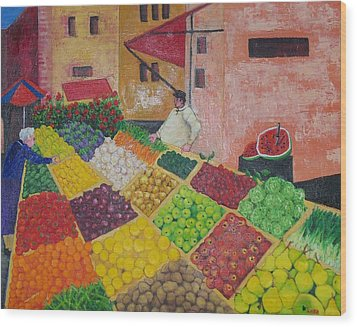 Polermo Street Market Wood Print by Lore Rossi