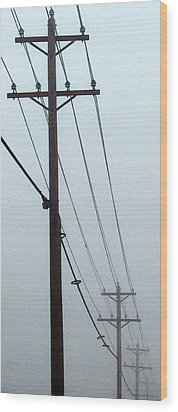 Poles In Fog - View On Left Wood Print by Tony Grider