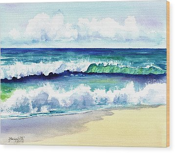 Wood Print featuring the painting Polhale Waves 3 by Marionette Taboniar