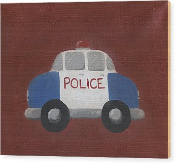 Police Car Nursery Art Wood Print by Katie Carlsruh