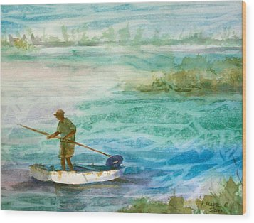 Poling The Flats Wood Print by Ruth Mabee