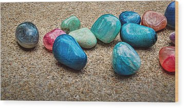Polished Stones - Photography Wood Print by Ann Powell