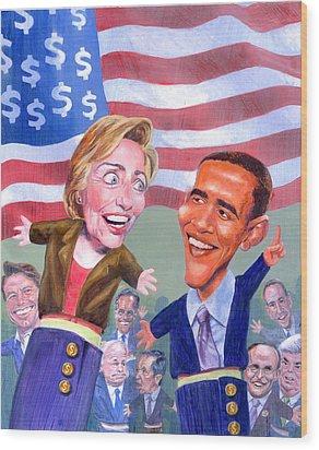 Political Puppets Wood Print by Ken Meyer jr