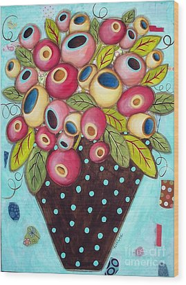 Polka Dot Pot Wood Print by Karla Gerard