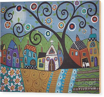 Polkadot Church Wood Print by Karla Gerard
