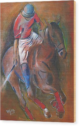 Polo Player Wood Print by Vered Thalmeier