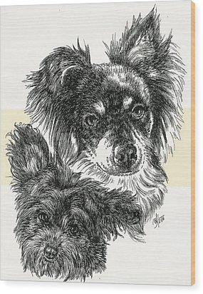 Pomapoo Father And Son Wood Print by Barbara Keith