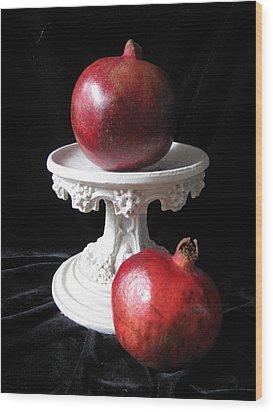 Pomegranate Deux Wood Print by Lindie Racz