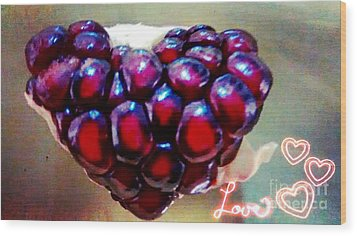 Wood Print featuring the digital art Pomegranate Heart by Genevieve Esson
