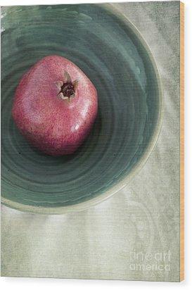 Pomegranate Wood Print by Priska Wettstein