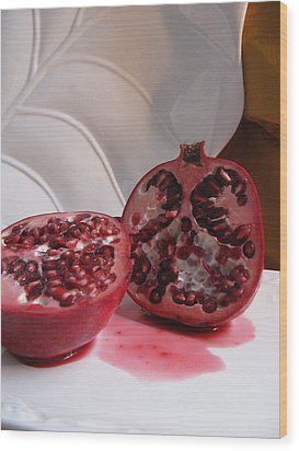 Pomegranate Slice Wood Print