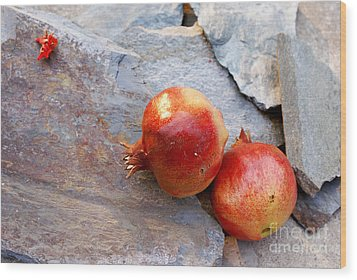 Wood Print featuring the photograph Pomegranates On Stone by Cindy Garber Iverson