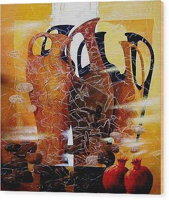 Pomegranates Wood Print by Yelena Revis